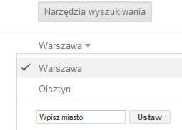 Zmiana lokalizacji w ustawieniach Google