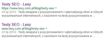 Indeksacja adresu z http i https