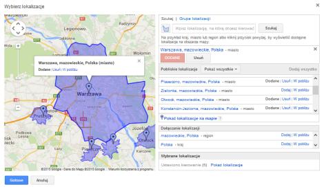 Warszawa i pobliskie lokalizacje