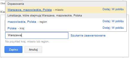 Propozycje słów kluczowych dla internautów z Warszawy